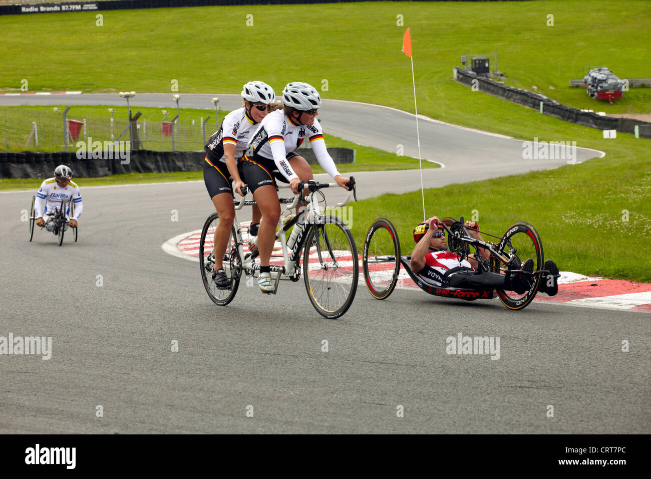 Para cyclists at the paralympic training day at Brands Hatch, Kent, UK. - Stock Image