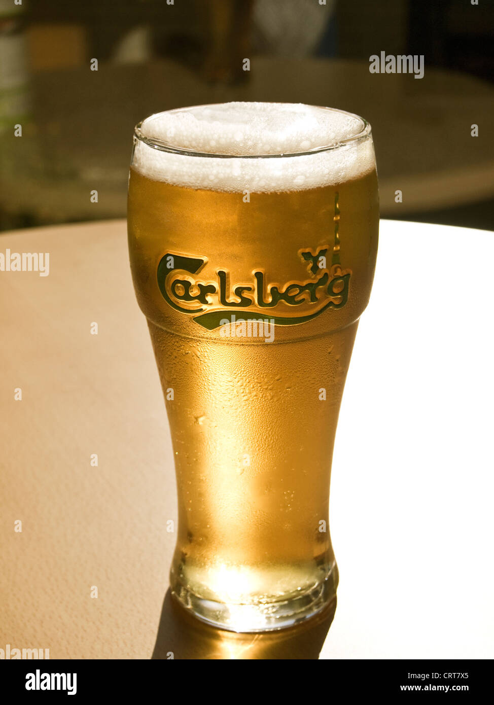 Beer - A glistening pint of cold Carlsberg lager beer - Stock Image