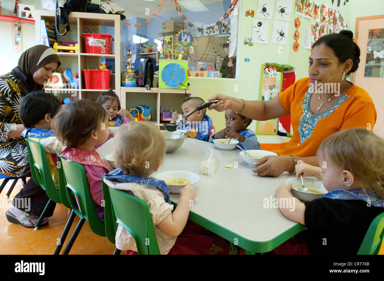 multicultural daycare center in montreal canada stock