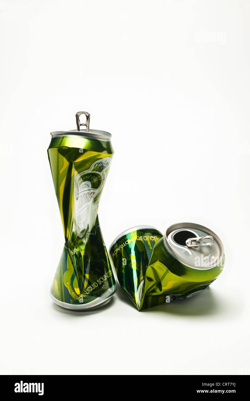 Crushed empty beer cans - Stock Image