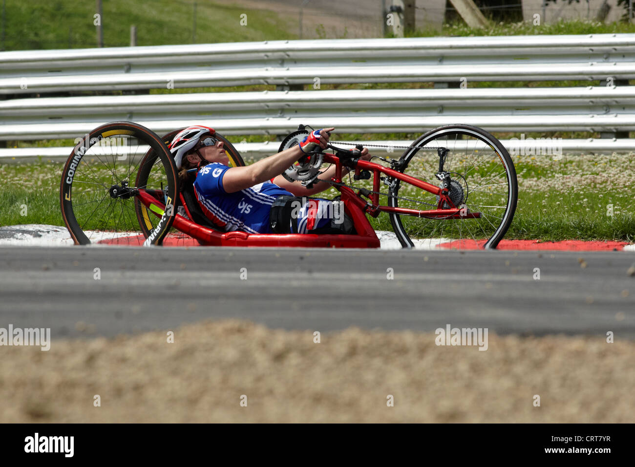 Para cyclist training for the London Paralympics at Brands Hatch, June 2012. - Stock Image