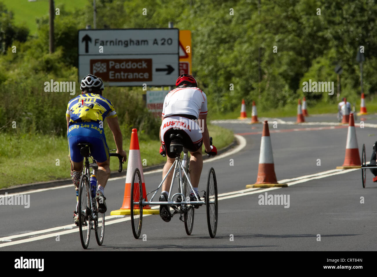 Paralympic cyclists at the paralympic training day at Brands Hatch. - Stock Image