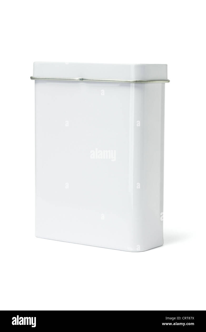 Blank Metal Container standing on White Background - Stock Image