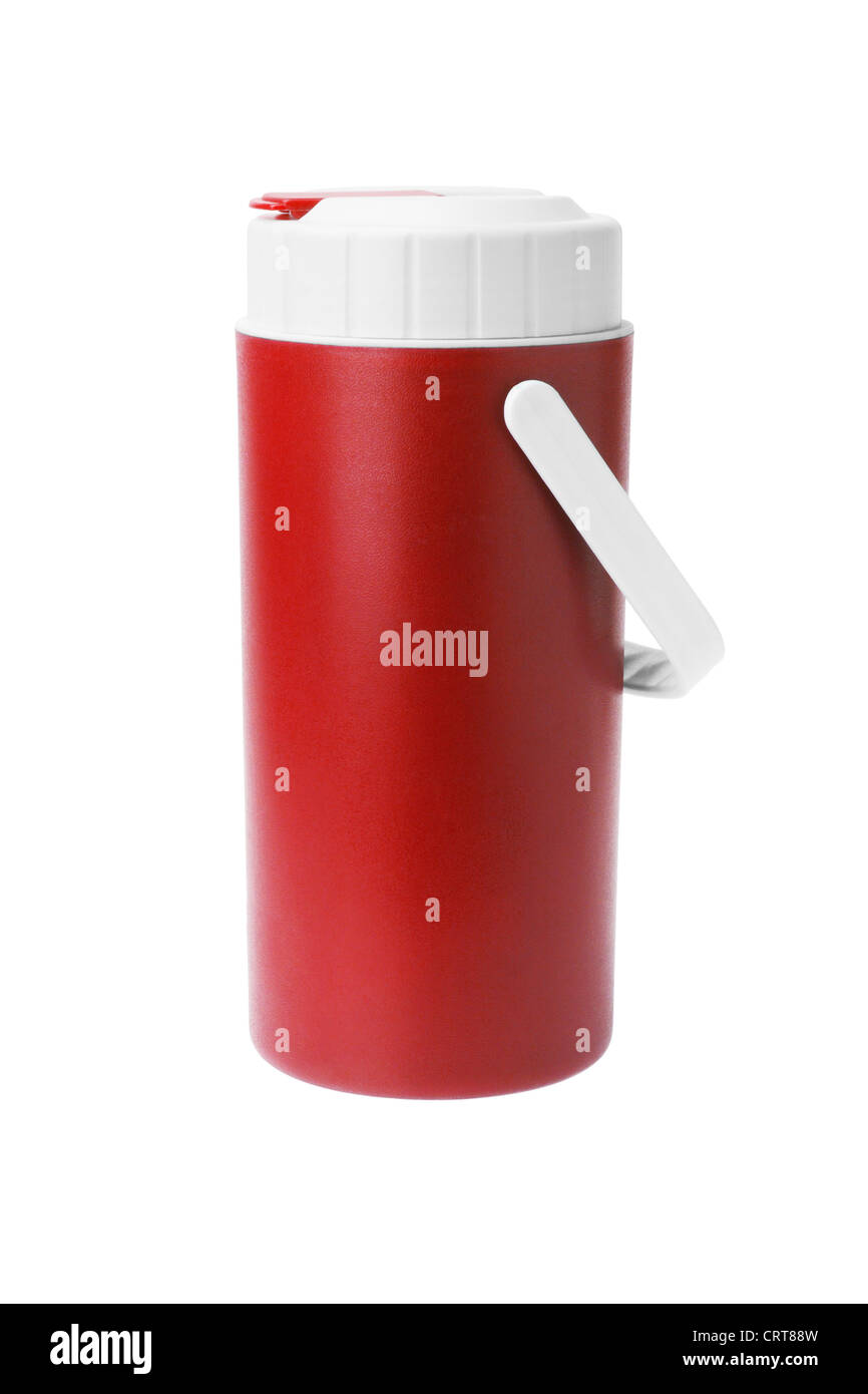 Red Plastic flask with Handle on White Background - Stock Image