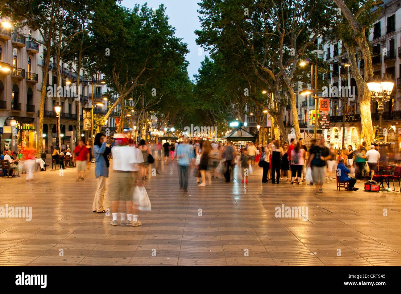 La Rambla at night, Barcelona, Catalonia, Spain - Stock Image