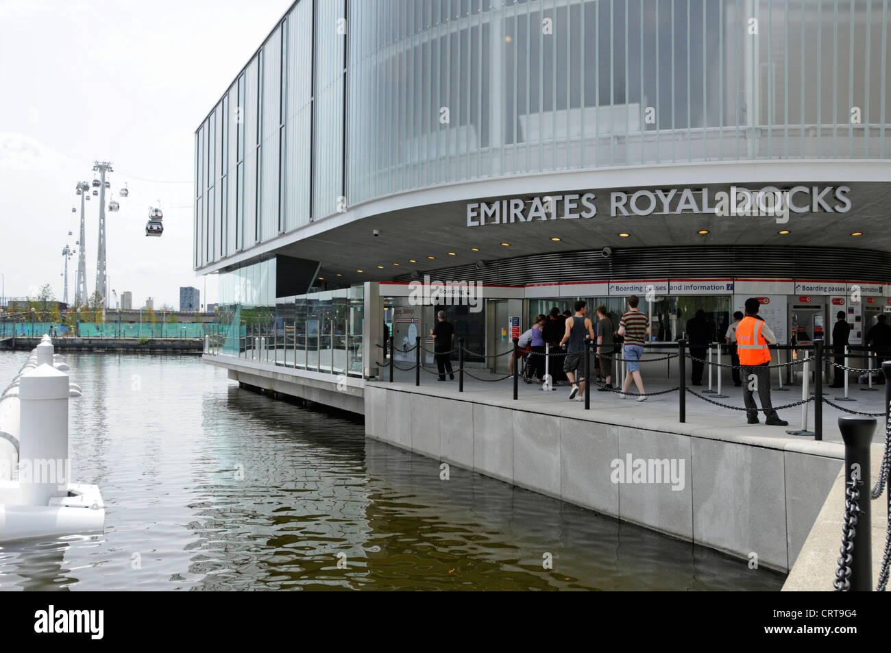 Ticket office for Emirates Air Line sponsored cable car crossing River Thames between Greenwich Peninsula and Royal Stock Photo