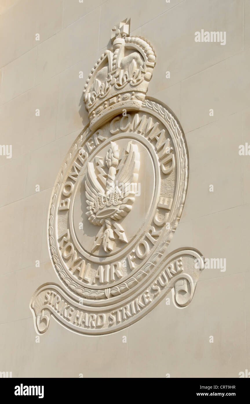 Royal Air Force Bomber Command Memorial close up detail of Bomber Command badge engraved into the Portland Stone - Stock Image