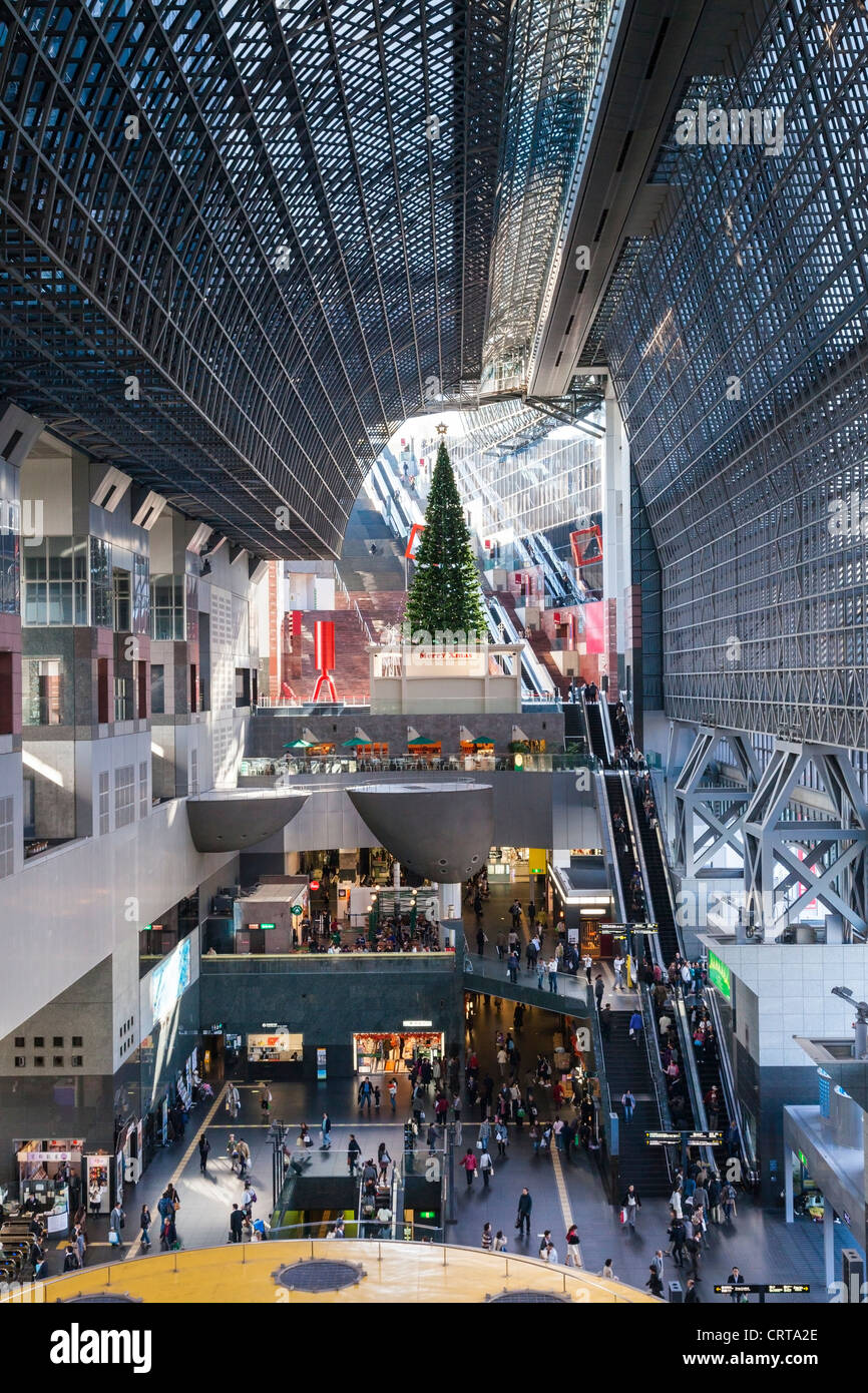 The concourse at Kyoto Railway Station at Christmas - Stock Image