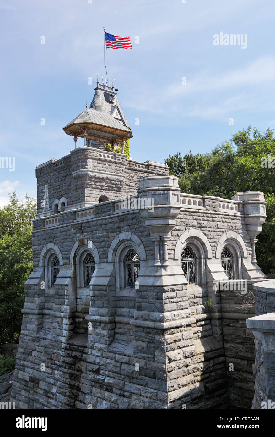 Belvedere Castle is a building in Central Park in New York City, New York, that contains exhibit rooms and an observation - Stock Image
