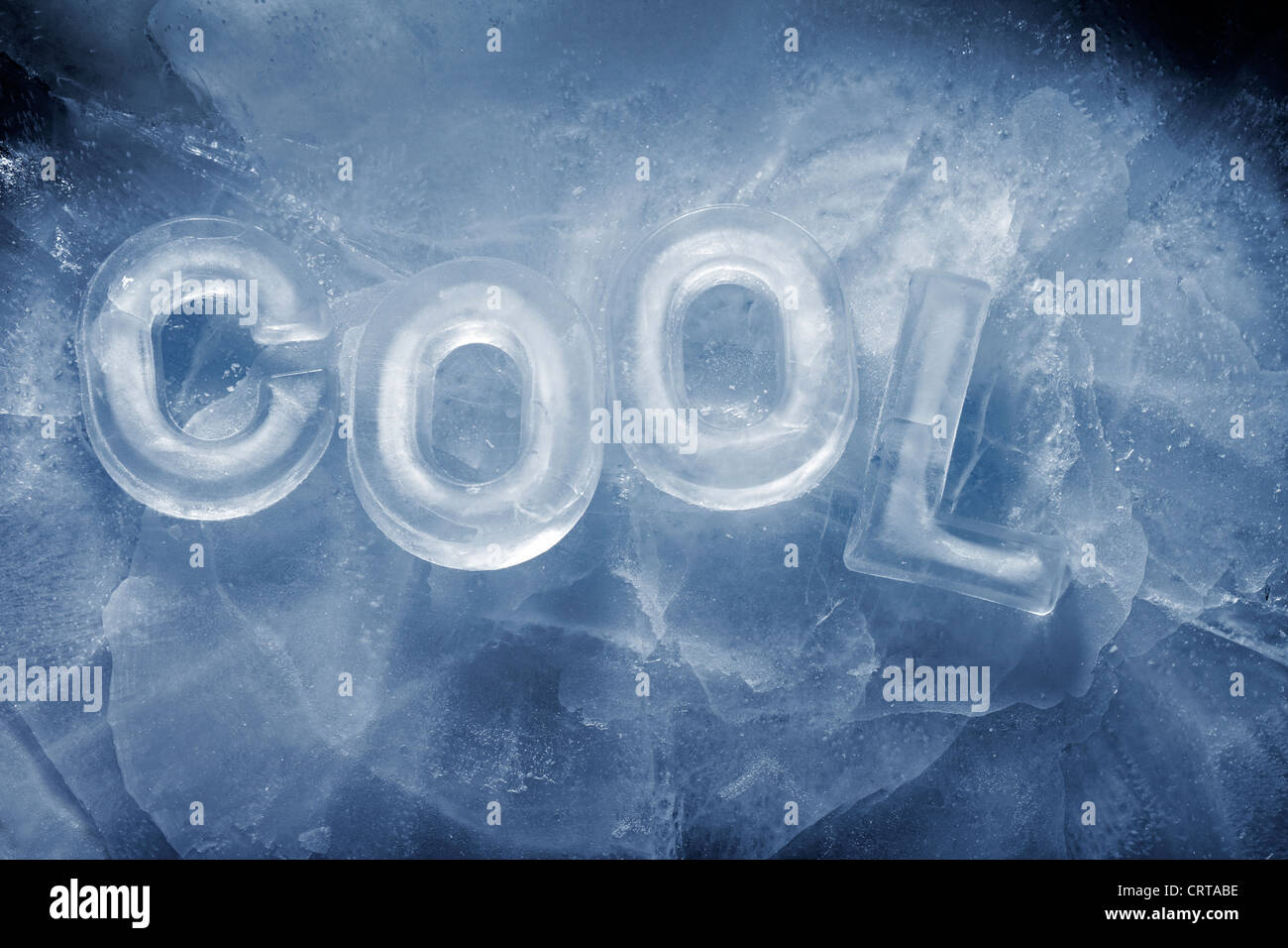 Word 'Cool' written with real ice letters. - Stock Image