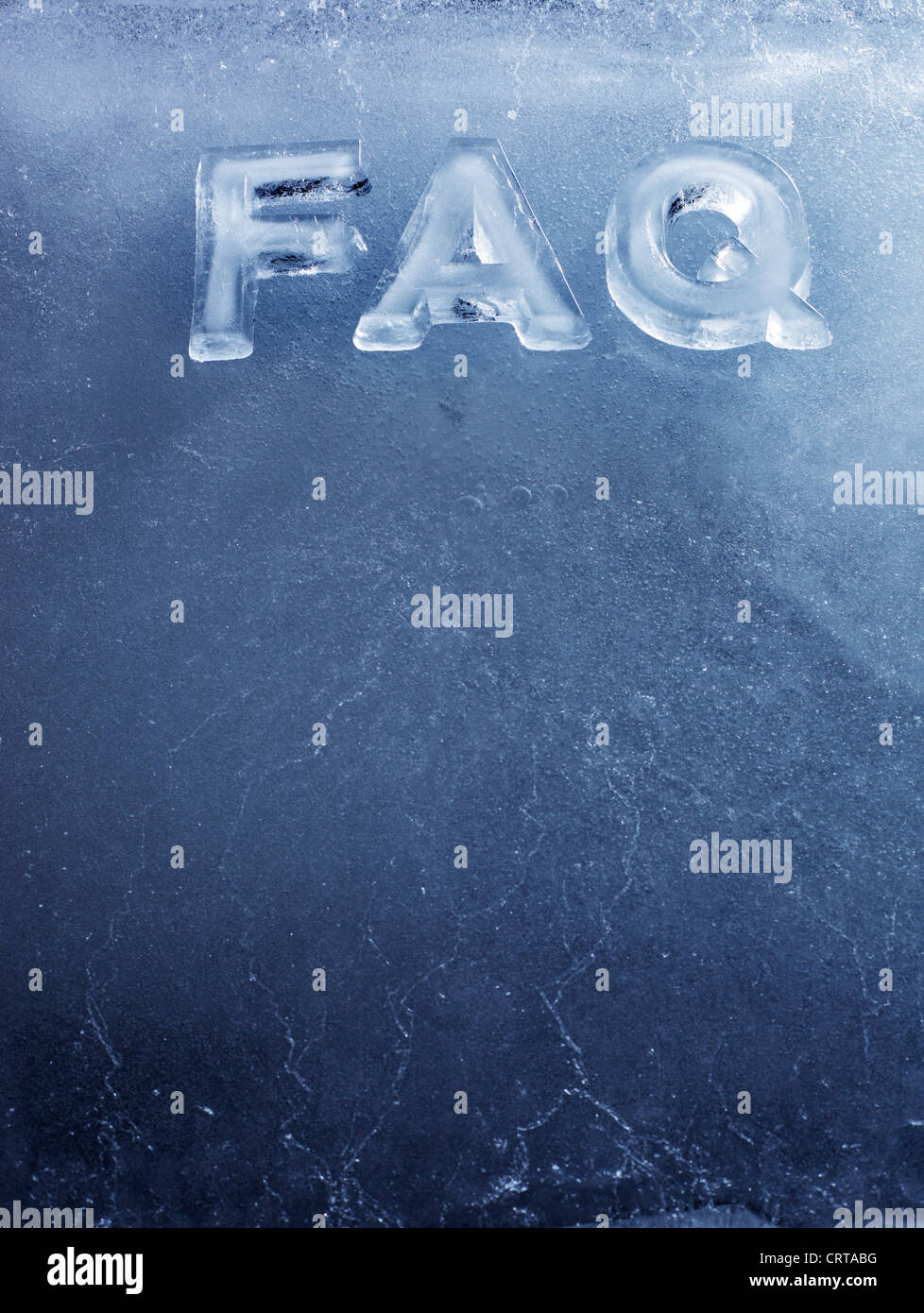 Acronym FAQ (Frequently Asked Questions) made with real ice letters. - Stock Image