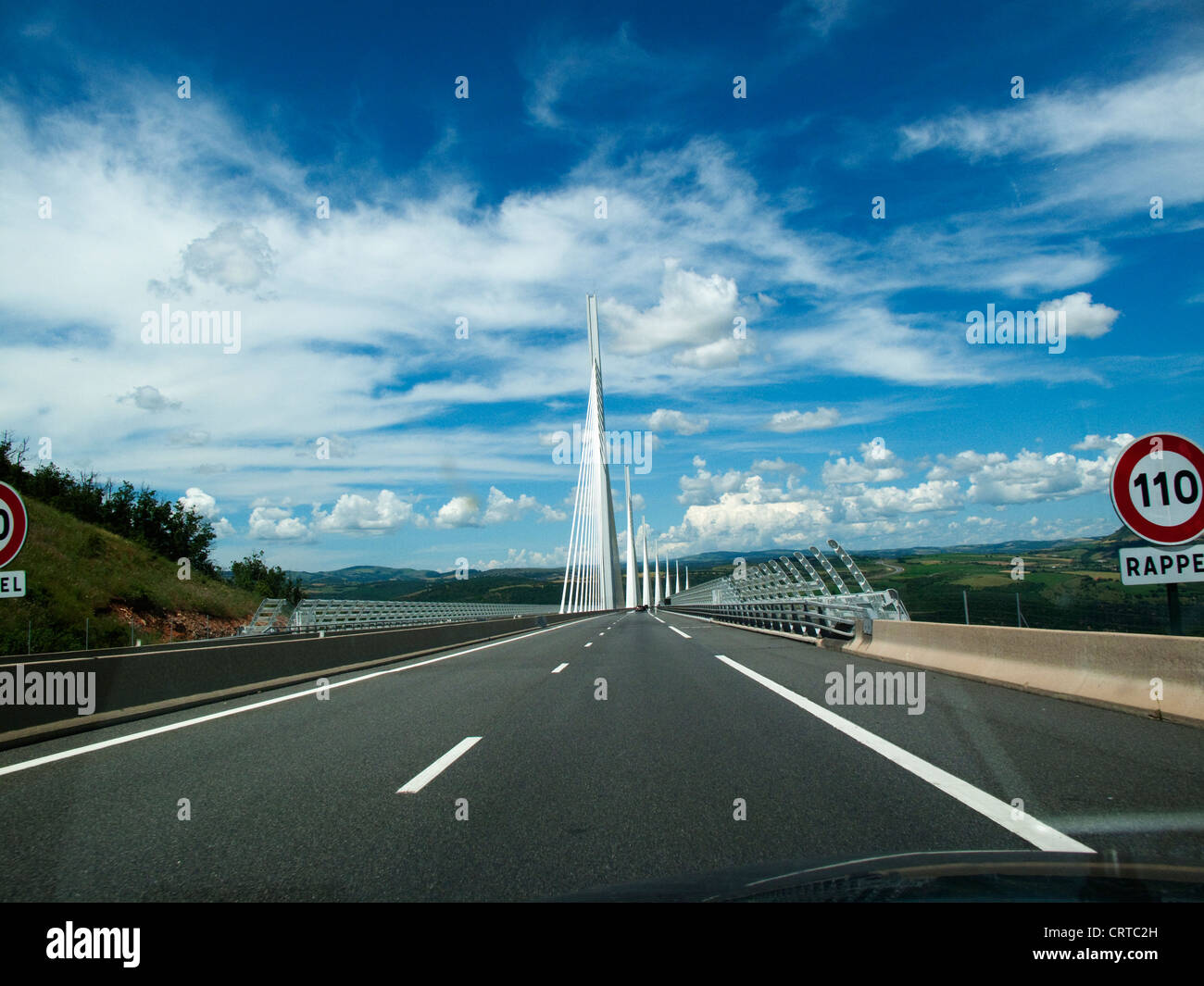 Approaching the Millau bridge in a car, the worlds tallest bridge in southern France Stock Photo