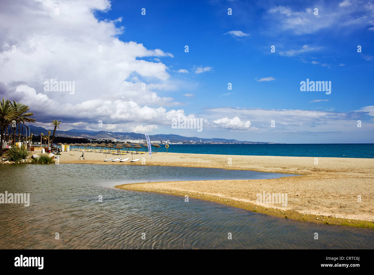 Beach, river and the sea vacation scenery on Costa del Sol in Spain, located between Marbella and Puerto Banus. - Stock Image