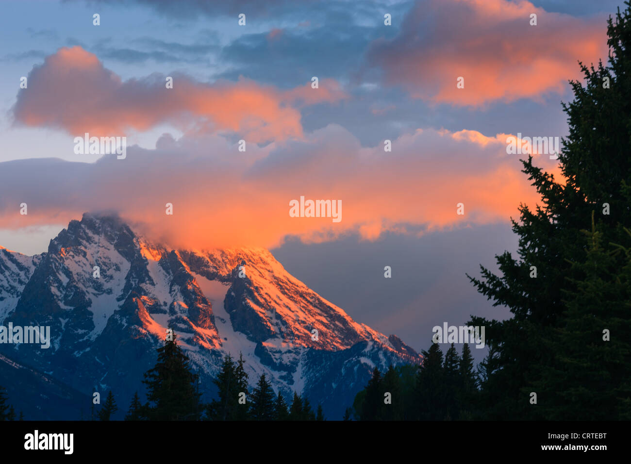 Sunrise at Schwabacher Landing at Grand Teton National Park in Wyoming, USA - Stock Image