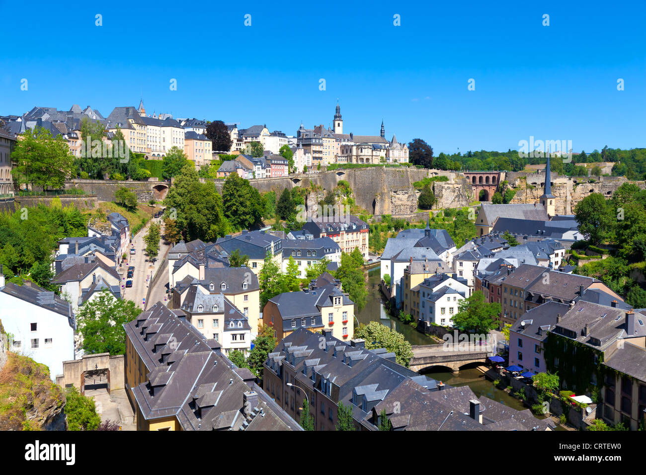 Luxembourg City Panorama on a sunny summer day - Stock Image