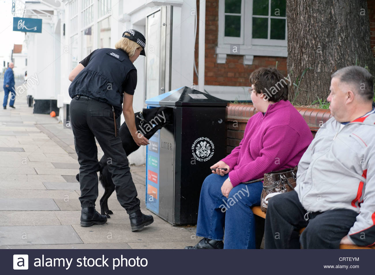 Police sniffer dog checking a litter bin security, Stratford on Avon, UK. - Stock Image