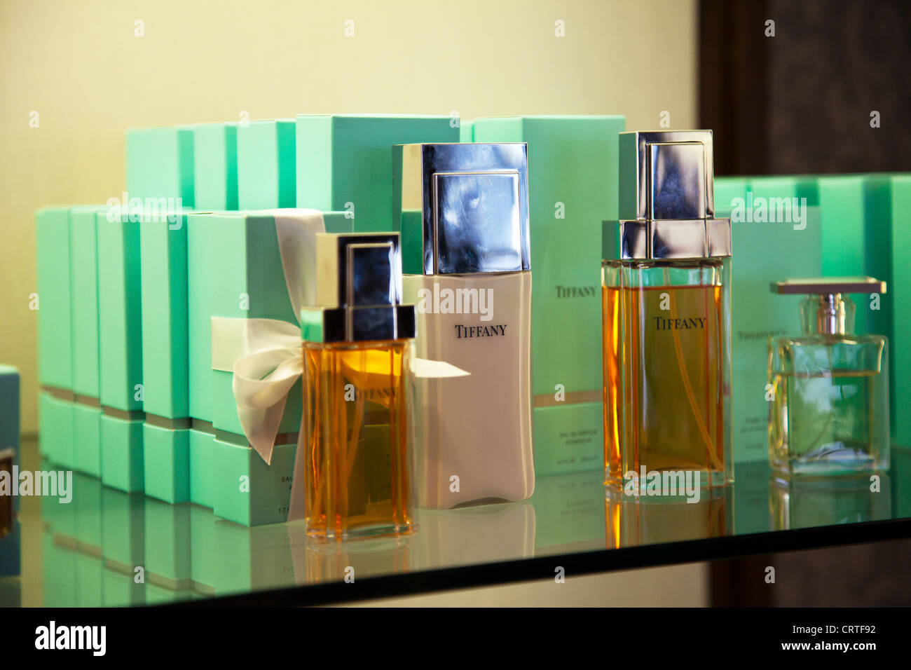 Inside the iconic Tiffany & Co Jewelry Store in New York City Fifth Avenue perfume fragrance bottles and boxes - Stock Image