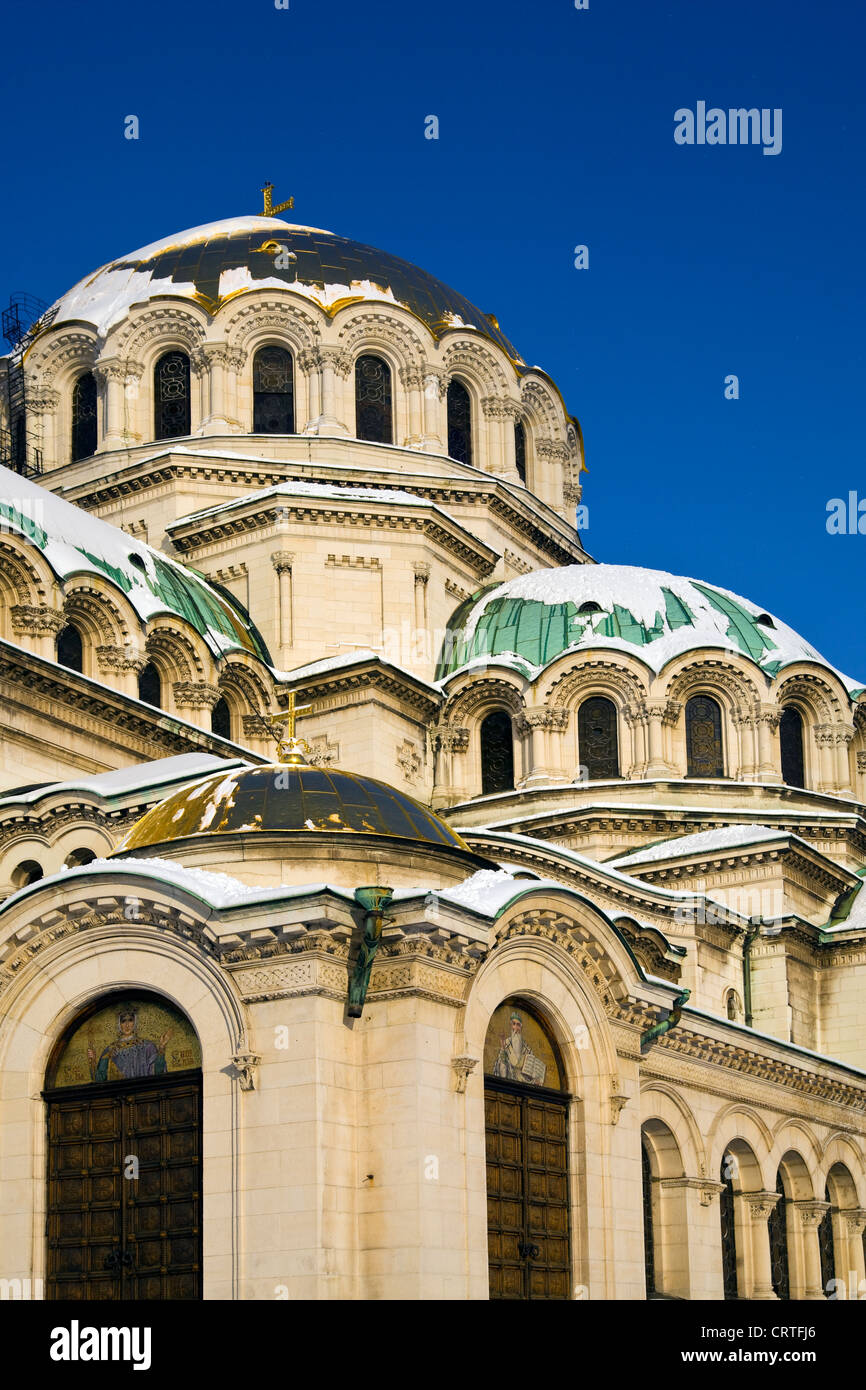 Alexander Nevsky Cathedral Church Domes with snow in winter in Sofia, Bulgaria - Stock Image