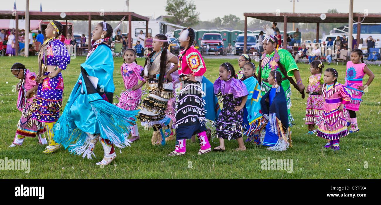 Fort Washakie, Wyoming - Participants in a powwow held during the Indian Days, an annual event held ion the Shoshone - Stock Image