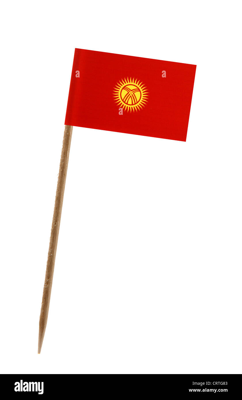 Tooth pick wit a small paper flag of Kyrgystan - Stock Image