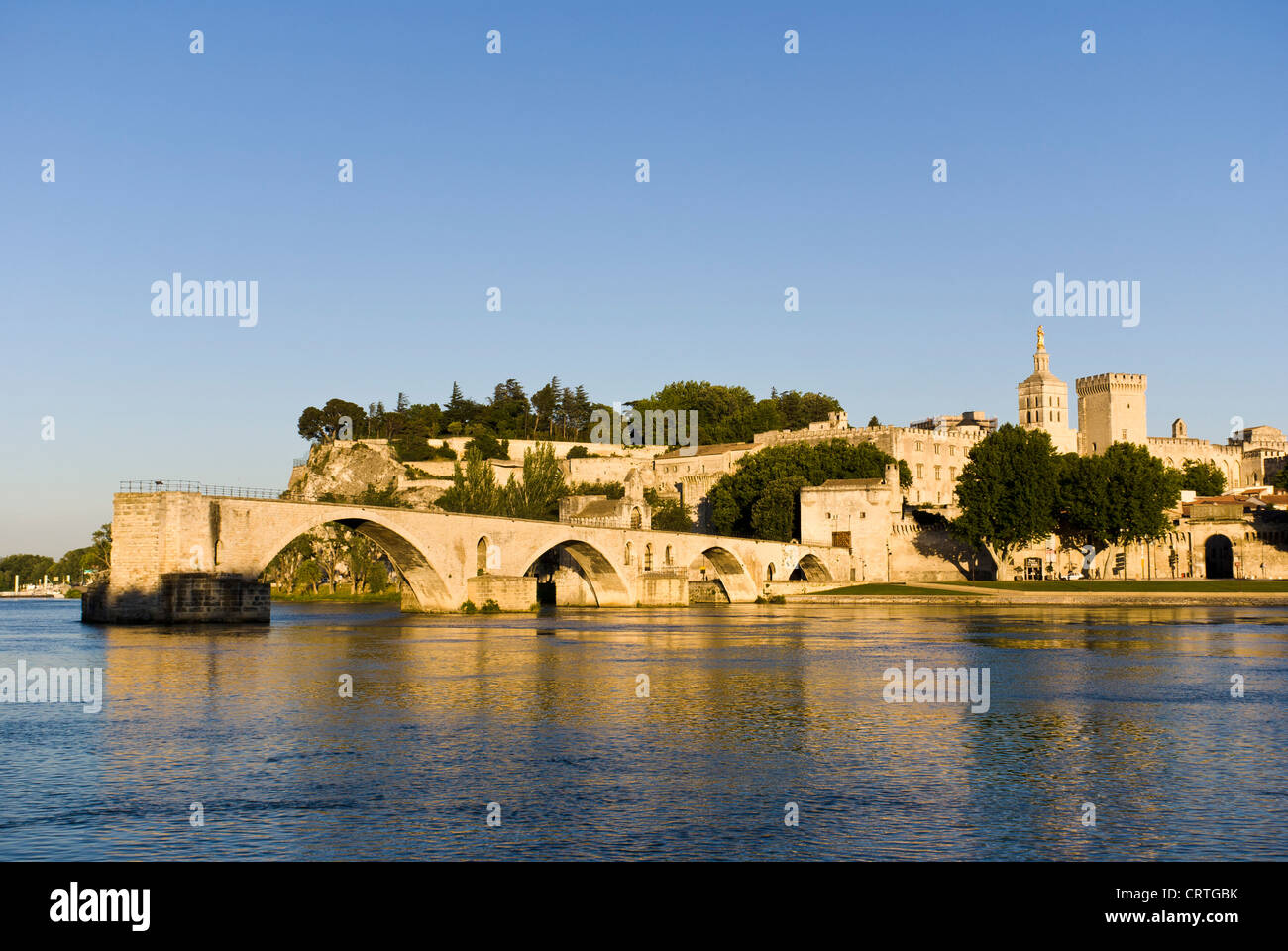 The Pont Saint-Bénezet, also known as the Pont d'Avignon, is a famous medieval bridge in Avignon, in southern - Stock Image