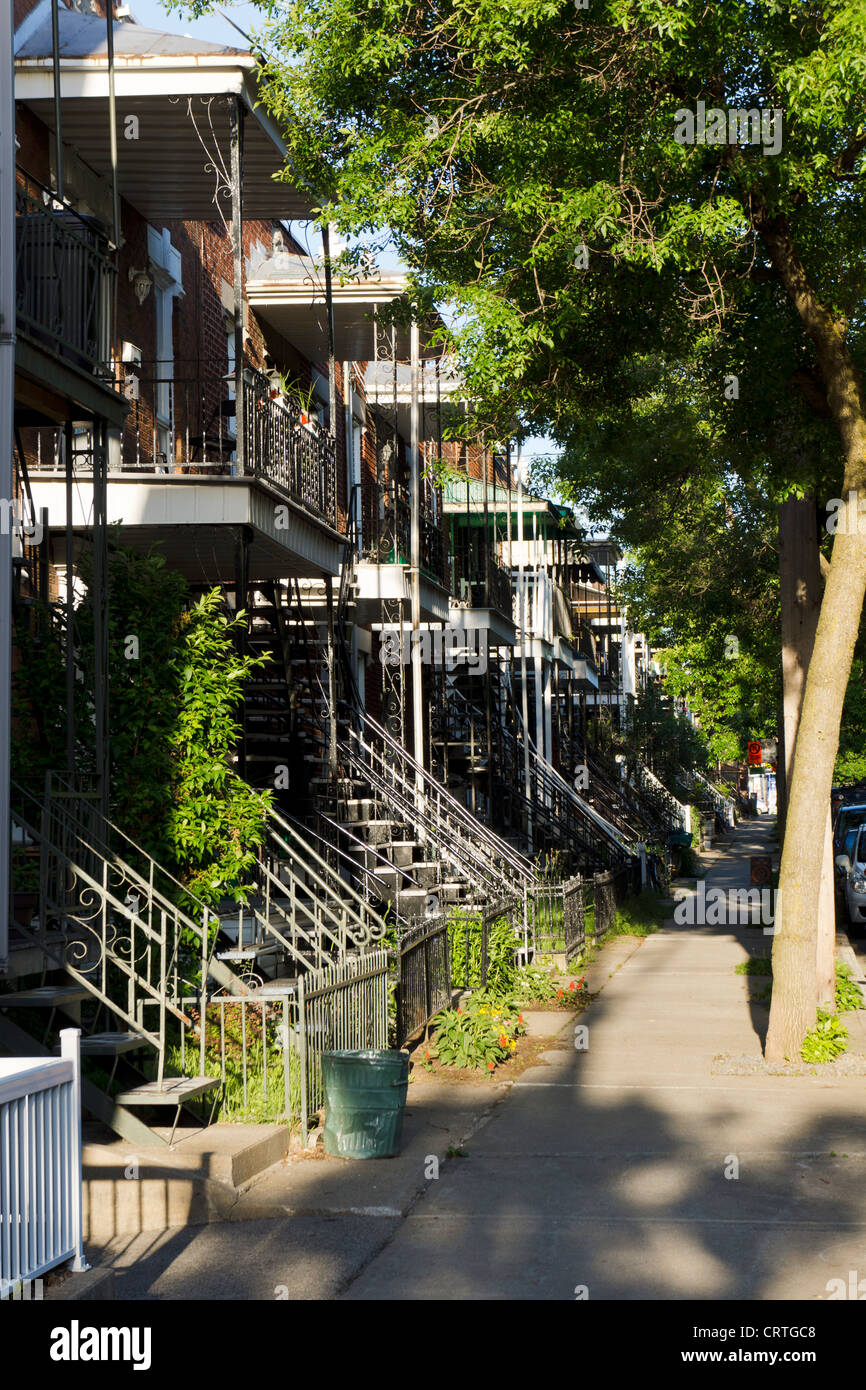 Typical Iron Outdoor Staircases And Balconies, Montreal, Quebec, Canada.