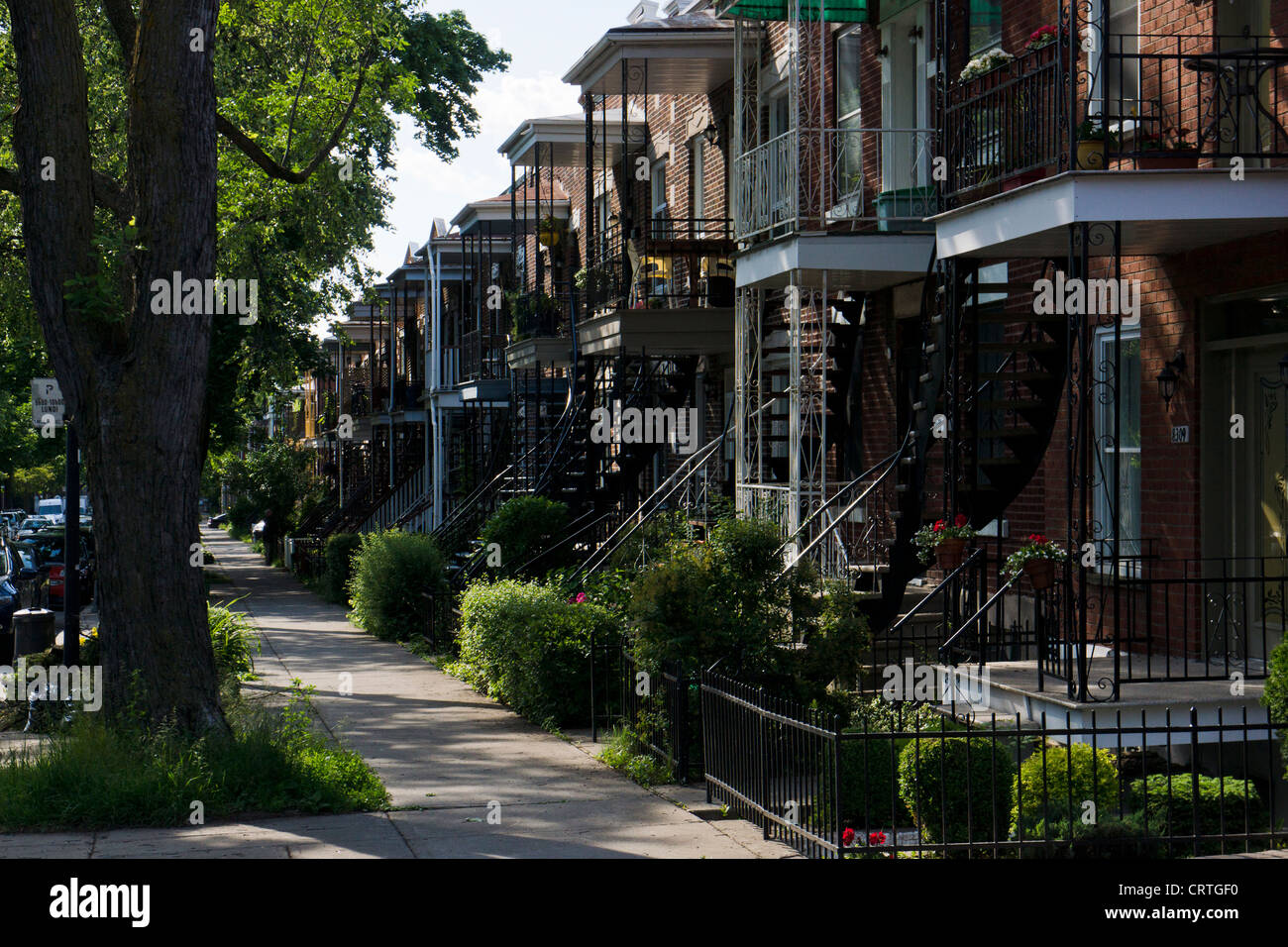 Typical iron outdoor staircases and balconies, Montreal, Quebec, Canada. - Stock Image