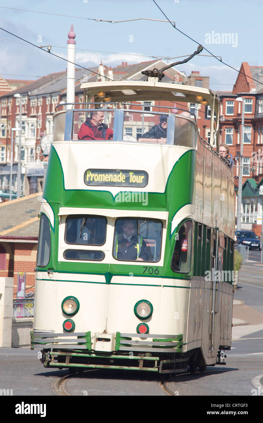 Open top tram 706 climbs Gynn Hill in North Shore,Blackpool - Stock Image