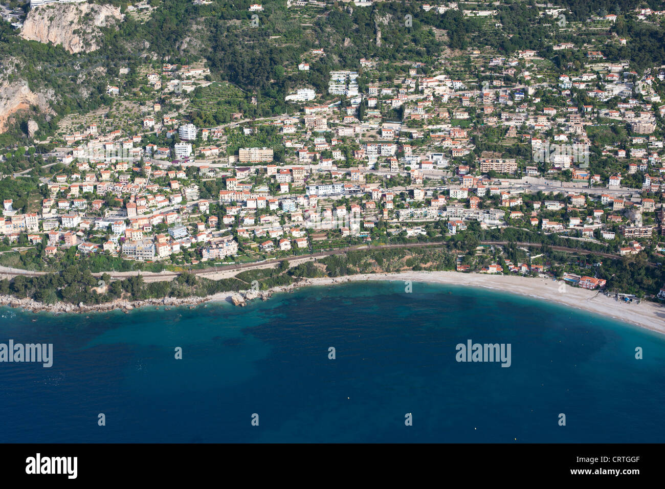 ROQUEBRUNE-CAP-MARTIN (aerial view). Seaside resort on the French Riviera, France. - Stock Image