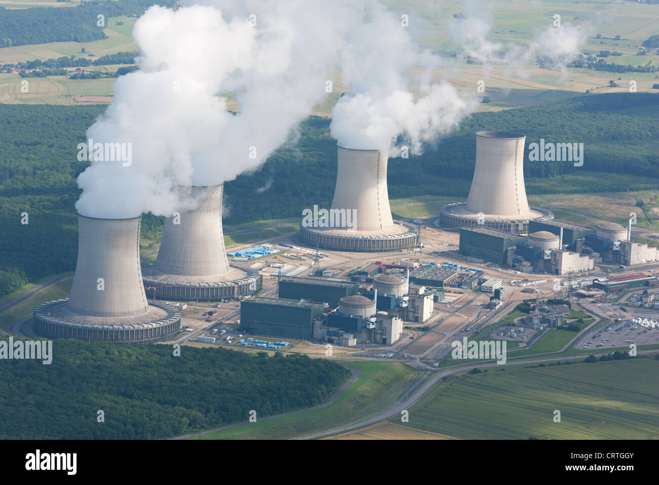 CATTENOM NUCLEAR POWER PLANT (aerial view). Near Thionville, Lorraine, France. - Stock Image