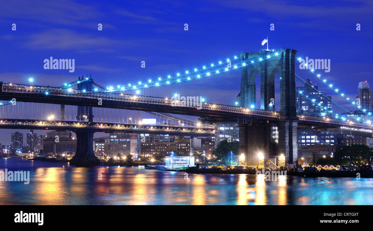 Brooklyn Bridge and Manhattan Bridge spanning the East River towards Brooklyn in New York City. - Stock Image