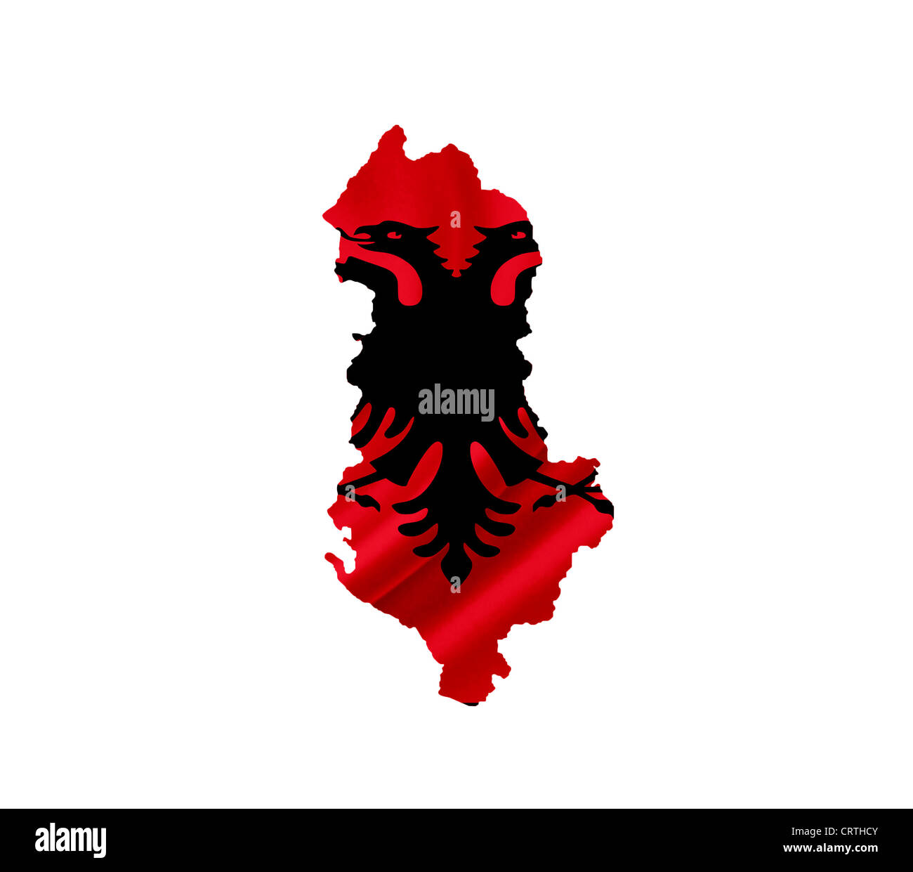 Map of Albania with waving flag isolated on white - Stock Image