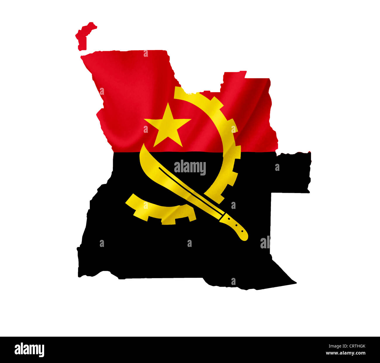 Map of Angola with waving flag isolated on white - Stock Image