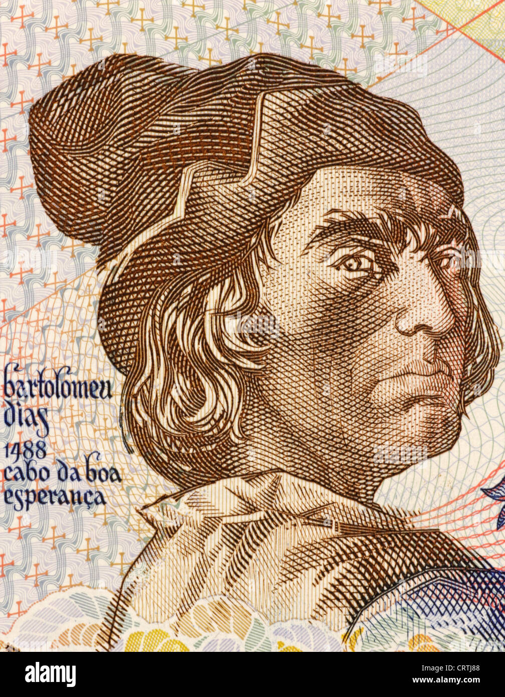 Bartolomeu Dias (1451-1500) on 2000 Escudos 1991 Banknote from Portugal. Nobleman of the royal household and explorer. - Stock Image