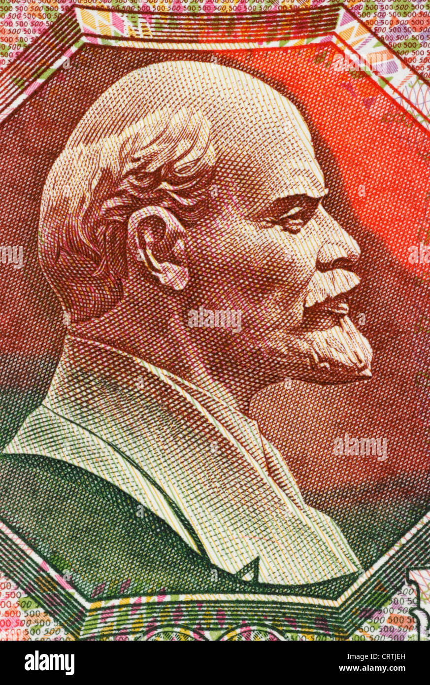 Lenin (1870-1924) on 500 Ruble 1992 Banknote from USSR. - Stock Image
