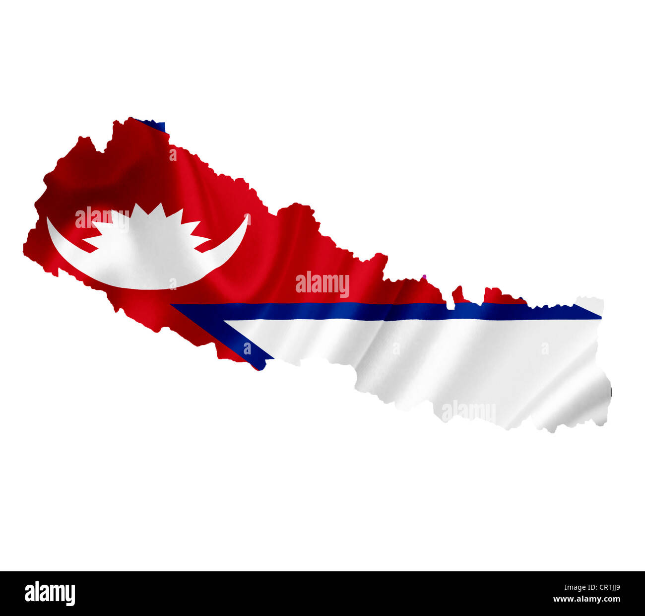 Map of Nepal with waving flag isolated on white Stock Photo ...
