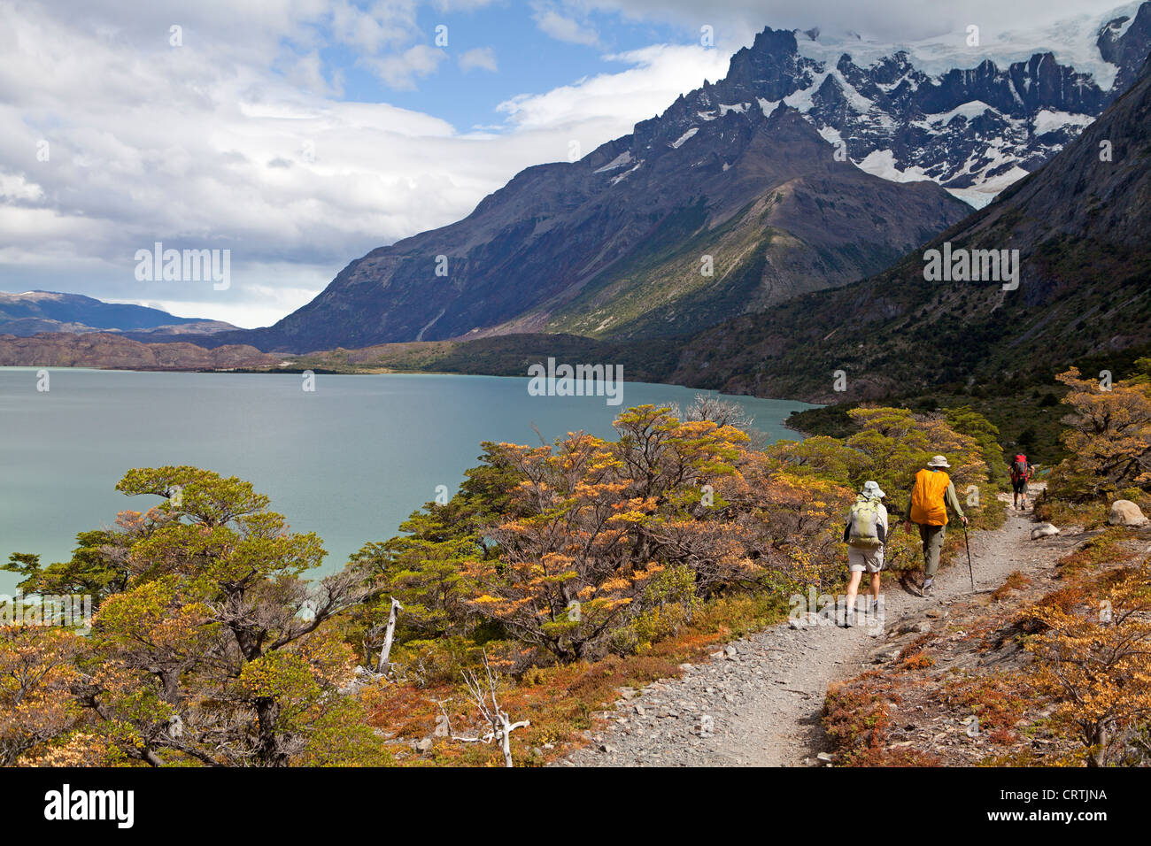 Hiking along the shores of Lago Nordenskjold in Torres del Paine National Park - Stock Image