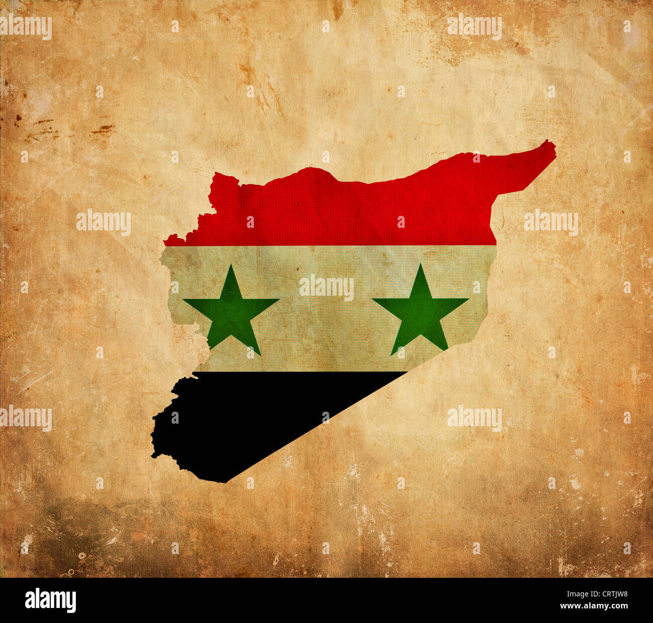 Vintage map of Syria on grunge paper Stock Photo