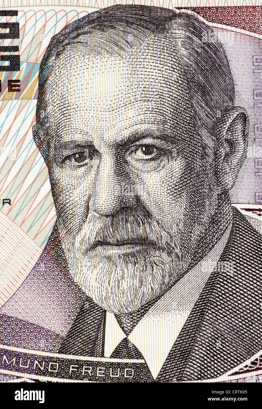 Sigmund Freud (1856-1939) on 50 Shilling 1986 Banknote from Austria. Stock Photo