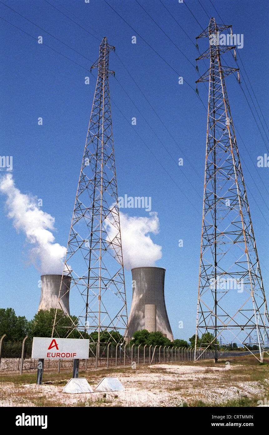 Nuclear power plant of E.D.F. on the grounds of the nuclear plant Tricastin Stock Photo