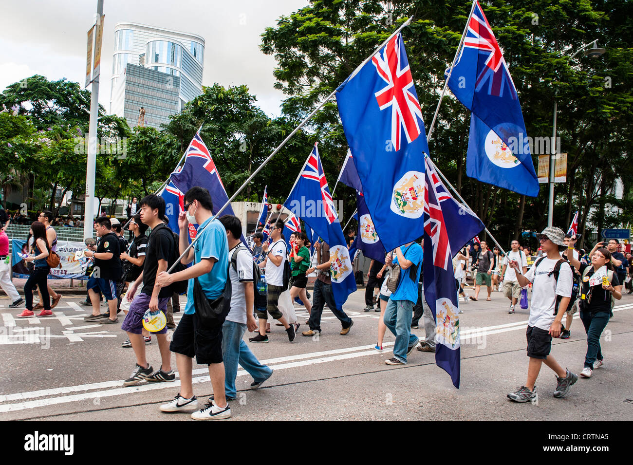 Very big handover demonstration with possibly 400.000 demonstrators against the new Chief Executive CY Leung. - Stock Image