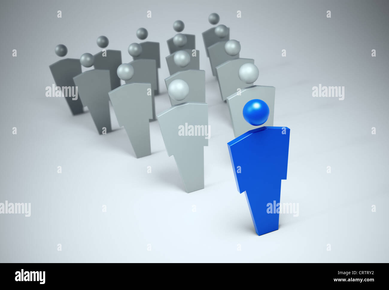 3D characters - leader concept illustration - Stock Image