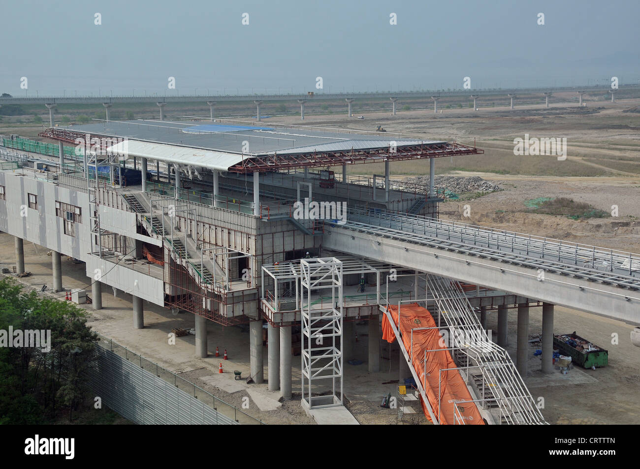 aerial railway station in construction Incheon South Korea Asia - Stock Image