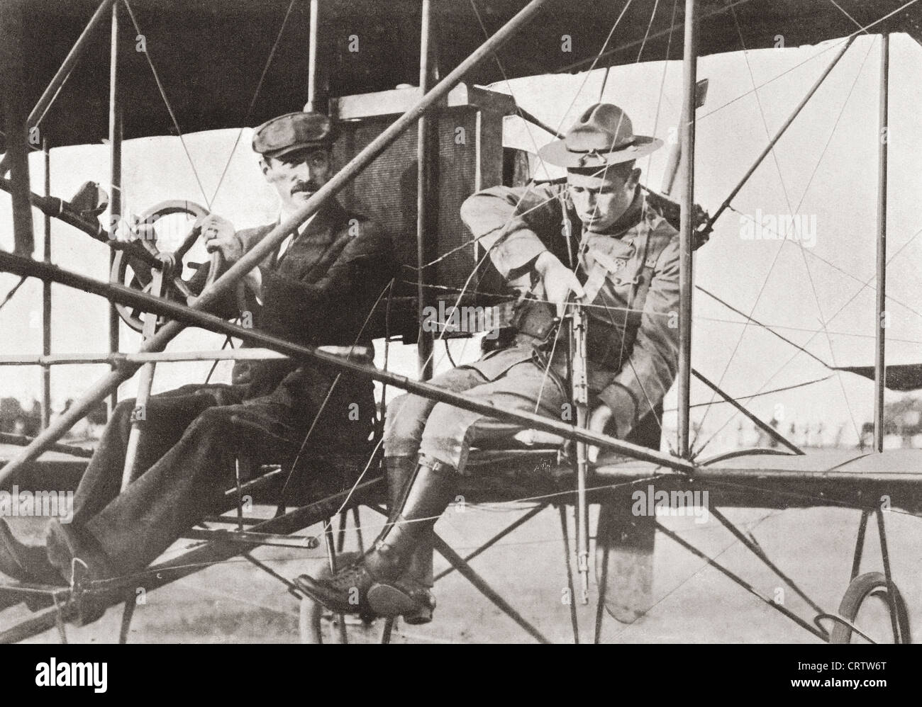 Air warfare during World War One. Aeroplane for raiding the enemy. From The Year 1914 Illustrated. - Stock Image