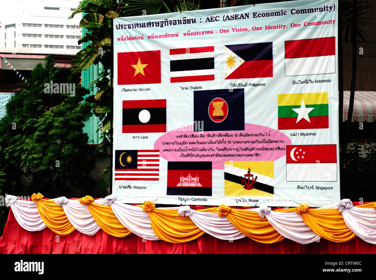 Flags on display of the AEC Asean economic Community, in Lumpini park, Bangkok. - Stock Image