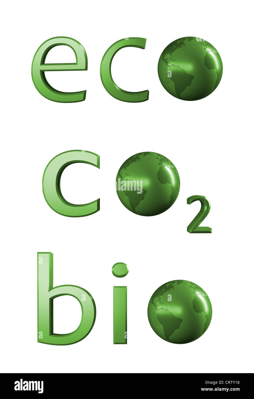 Ecology related 3D text - Stock Image