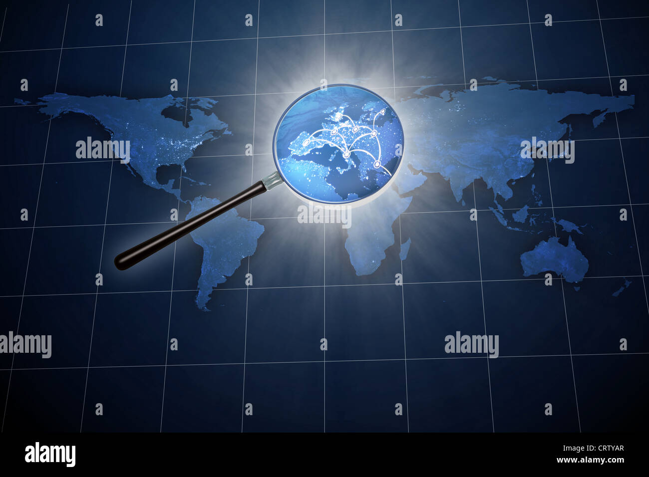 Magnifying glass over the world map - Europe zoom - Stock Image