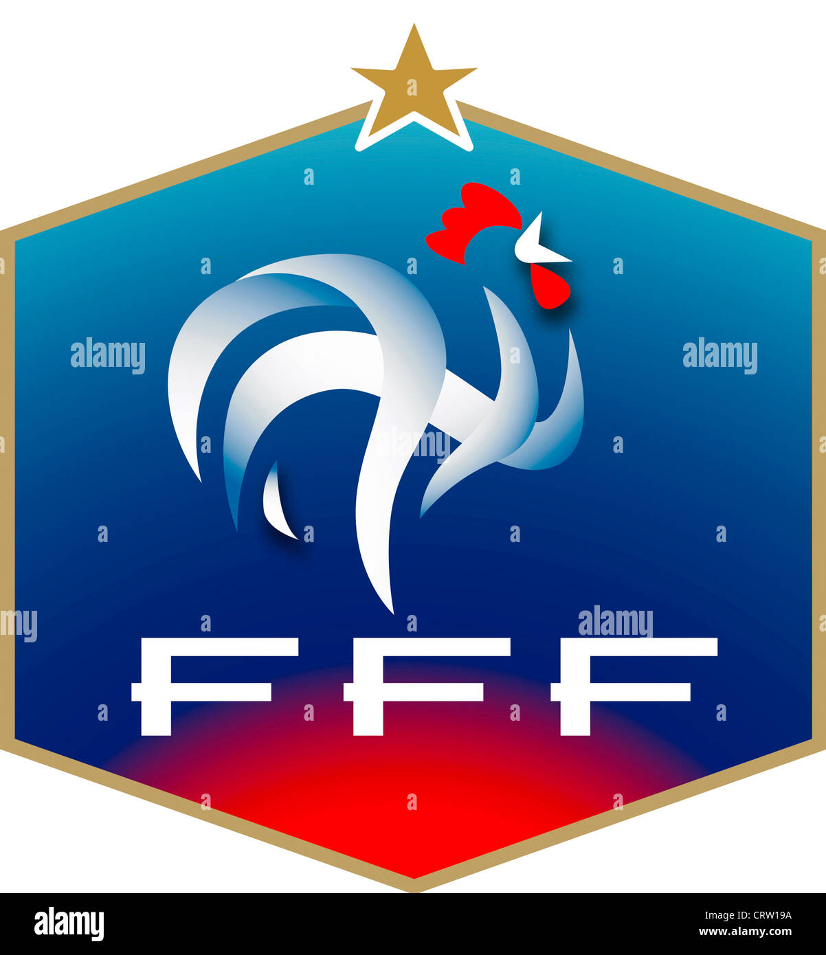 Logo of the French Football Association FFF Federation Francaise de Football and the National team. Stock Photo