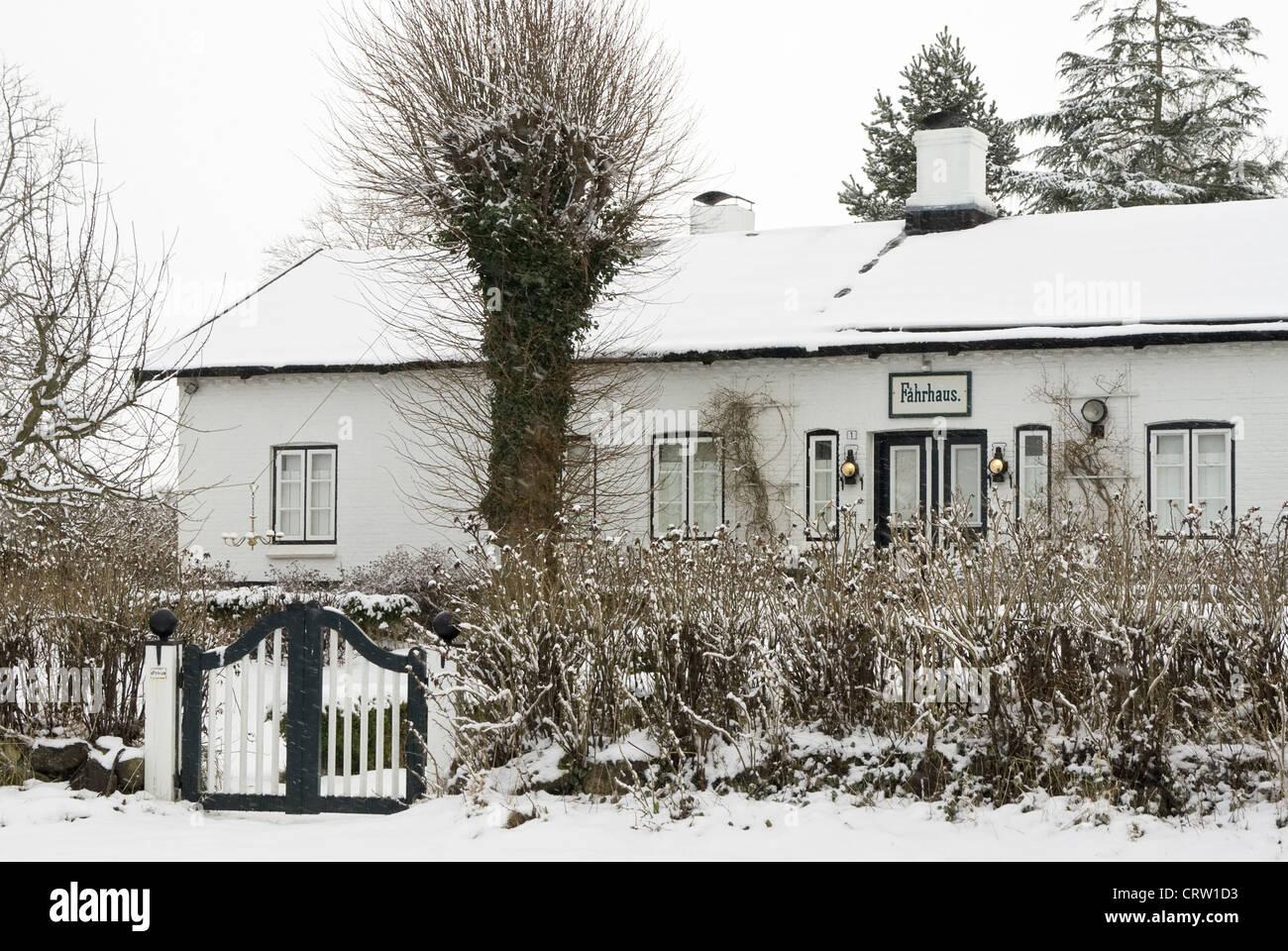 Old Faehrhaus in Sieseby in the winter Stock Photo