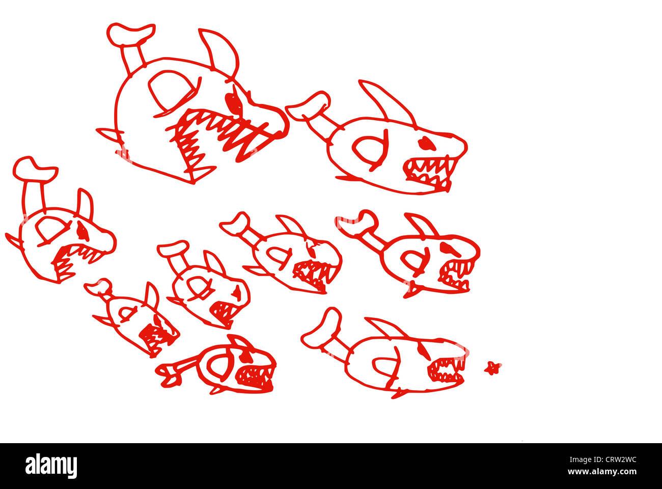Pirhanhas pursue a mouse - Stock Image